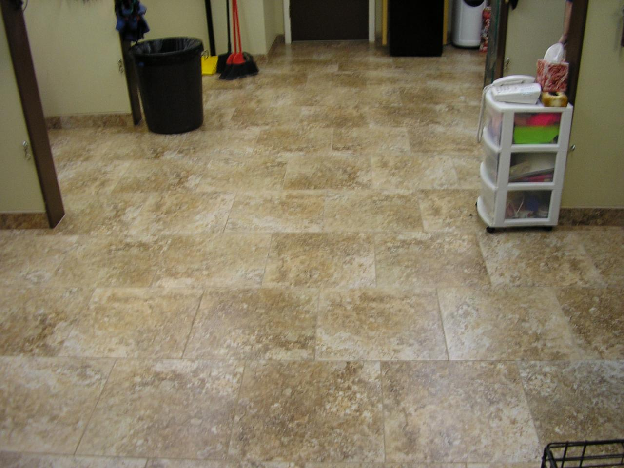 Commercial tile floor installation